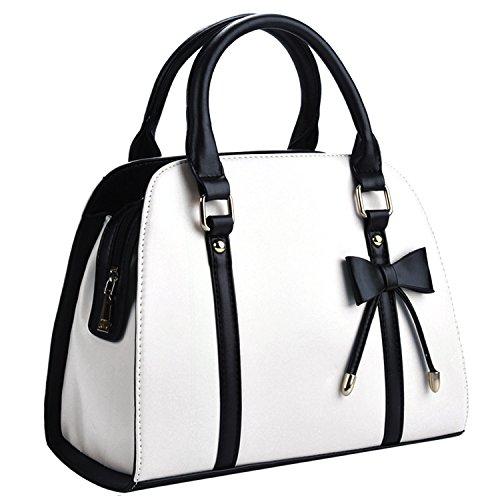 Damentasche,Coofit Handtasche Damen Leder Handtasche Schultertasche Rockabilly Tasche Handtasche Elegant- Weiß, Large
