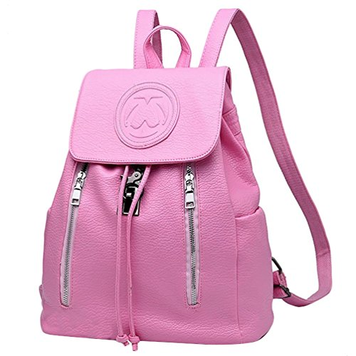Imagen de yijee mujer  de piel gran capacidad diseño de la cremallera  saco pink