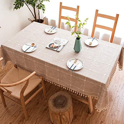 J-MOOSE Tovaglia in Cotone e Lino Anti-Macchia Tovaglia per Tavolo Impermeabile Rettangolare Decorazione Domestica della Cucina (140x180cm, Lattice Light Brown)