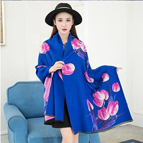 HSDMF Shawl sciarpa a doppia faccia Imitazione di cashmere Mantieni caldo Scialle lungo 4 stagioni Motivo floreale , Crimson blue