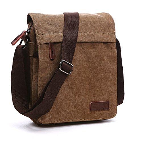 Outreo Schultertasche Vintage Umhängetasche Herren Messenger Taschen Canvas Kuriertasche für Tablet Retro Reisetasche Schule Aktentasche Braun