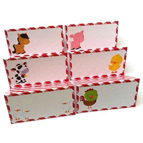 Adorebynat Party Decorations - EU Tiere auf dem Bauernhof Platz Zelt-Karten - Jungen-Mädchen-Geburtstags-Babyparty Partei liefert - Set 12