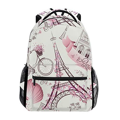 lturm Pink Blume Wasserdicht Schule Schultertasche Gym Rucksack Romant Fahrrad Ballon Lampe Haus Laptop Tasche Outdoor Reise Tasche für Kinder Jungen Mädchen Damen Herren ()