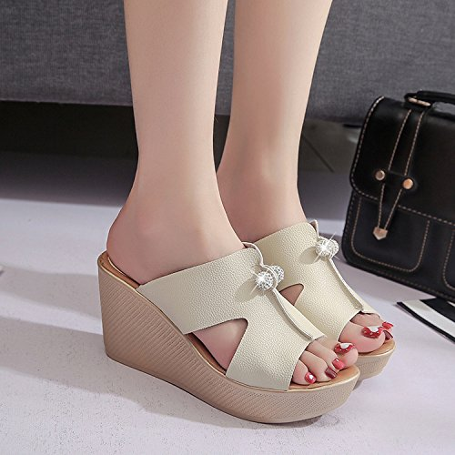 ZPPZZP Ms sandali pantofole stile Coreano a tacco alto spessa con nero 38EU 35EU