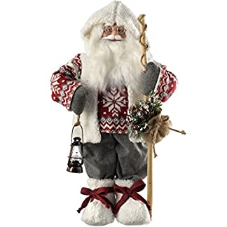 WeRChristmas–Figura decorativa de pie de Papá Noel con decoración de Navidad, disfraz, 47cm, color gris/rojo