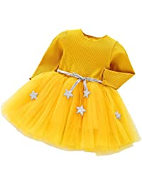 LEvifun Vestito Bambina Modelli Bello Autunnali e Invernali Ragazze Abiti  Vestito Stella a Cinque Punte Maniche c68ac51c282