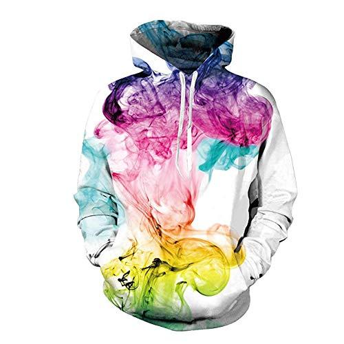 3D Print Pullover Hoodie Boy/Girl/Kinder/Frauen Sweatshirt Pullover/Paar Shirt/Langarm Hoodie Geschenk,Bunter Rauch-Unisexhoodiespullover,5XL
