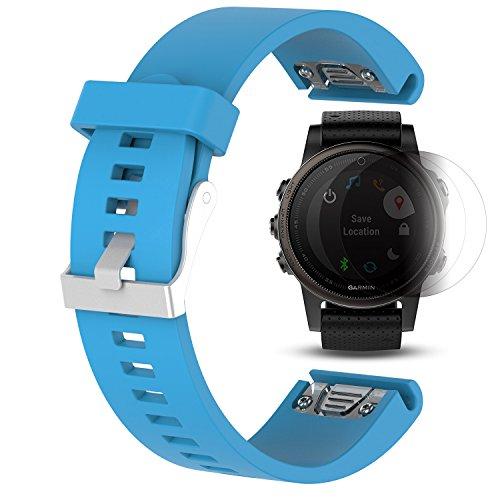 Garmin Fenix 5S Band mit Display Schutz, TUSITA Ersatz Soft Silikon Quick Fit Armband Sport Strap WristBand Zubehör für Garmin GPS Uhr (20mm Breite) (BLAU) (Garmin Fit Uhr)