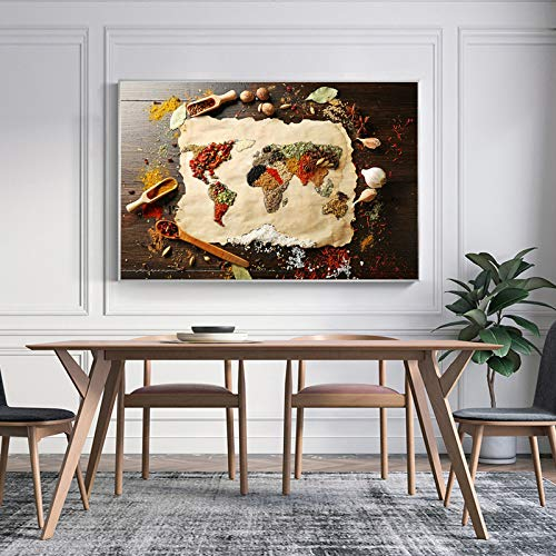 NIMCG Modern Spice Poster And Print Wall Art Canvas Painting Wall Restaurant Restaurant Home Decoration No (No Frame) A2 20x30CM