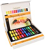 Aquarellfarben Wasserfarben Set – 36 lebendige Farben – 2 Wassertankpinsel, 1 Pinsel,  8 Aquarellpapier – geeignet für Anfänger und Profis – Bianyo®