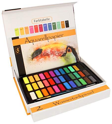 Aquarellfarben Wasserfarben set – 36 lebendige Farben + 1 Wassertankpinsel + 1 Pinsel + 8 Aquarellpapier – geeignet für Anfänger und Profis – Bianyo®