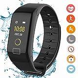 CanMixs Fitness Tracker CM01 mit Pulsmesser, wasserdichte Smartwatch, Stoppuhr, Schlaf-Monitor, Schrittzähler, Kalorienzähler, Musik-Fernbedienung, Bluetooth Activity Armband für Android und IOS(Schwarz)