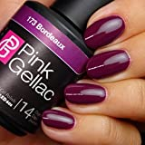 Pink Gellac Gel-Nagellack Shellac, Majestic Kollektion 15ml UV Nagellack farbiger Nagellack Nagellackfarben (173 Bordeaux)
