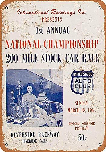 Wise Degree Metal Poster 1962 Riverside Raceway00tock Car Race Metall Poster Wand Küche Kunst Cafe Garage Shop Bar Dekoration