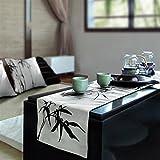 LIVEINU Fatto a Mano Runner da Tavola Moderno con Elegante Motivo Tavolo Band per Partito di Pranzo Decorazione 180x32cm Pittura Cinese di Bambù Bianco