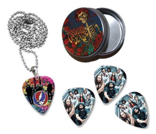 Grateful Dead Collection With 3 Double Sided Loose Gitarre Plektrum Plektron Picks & Kette in Tin (Gitarren Pick Grateful Dead)