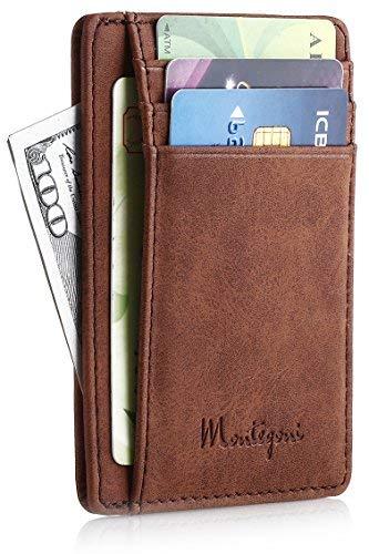 Montegoni Kreditkartenetui mit RFID Schutz | Kartenhalter, Kartenetui, Brieftasche, Mini Geldbörse, Slim Wallet -