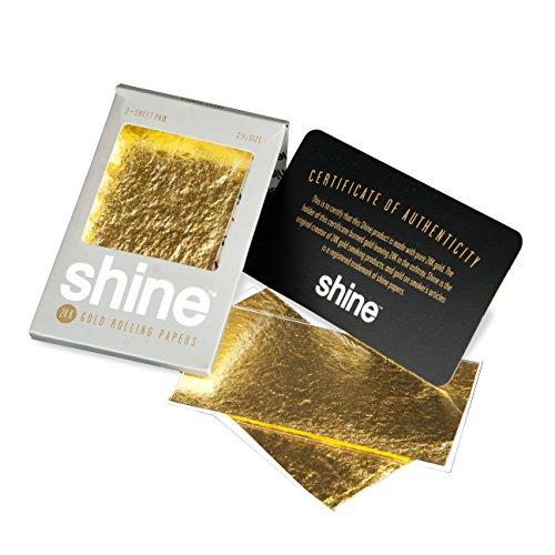 Shine 24K Gold Rolling Papers - Regular Size 2-Sheet Pack - 2x Gold Blunt Paper - Hochwertige Blättchen im Zweierpack (24 Gold Rolling Papers)