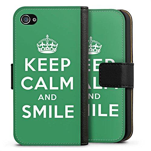 Apple iPhone X Silikon Hülle Case Schutzhülle Keep Calm and Smile Sprüche Grün Sideflip Tasche schwarz