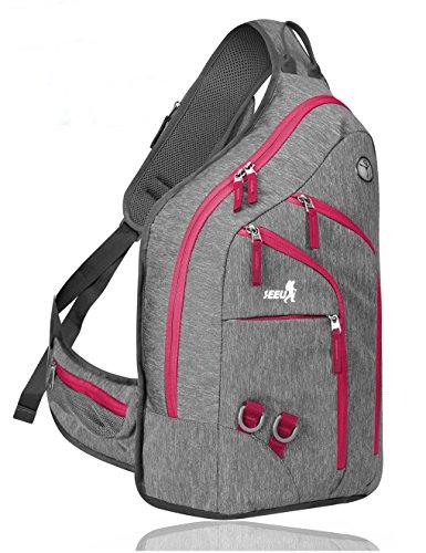 2-FNS Brusttasche, Sling Rucksack, Schultertasche für Damen und Herren Daypack Sporttasche Rosa