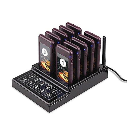 Prom-near Drahtloses Gästeruf- Kundenrufsystem Paging-System 10 Pager Kanäle mit 10 Batterieauflade-Steckplätze für Restaurant Cafeteria Schnellimbiss Cafe Kirche