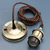 KINGSO E27 Lustre Suspension Vintage Retro Culot de Lampe Edison Antique 110-250V Adaptateur de Douille Cuivre avec Câble de 2m Antique Bronze