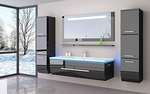 Danny Komplett Vormontierte Badmöbelset 120 cm Schwarz Badezimmermöbel Waschbeckenschrank mit Waschtisch Spiegel 2 Hochschränke mit LED Beleuchtung Hochglanz lackiert Homeline1