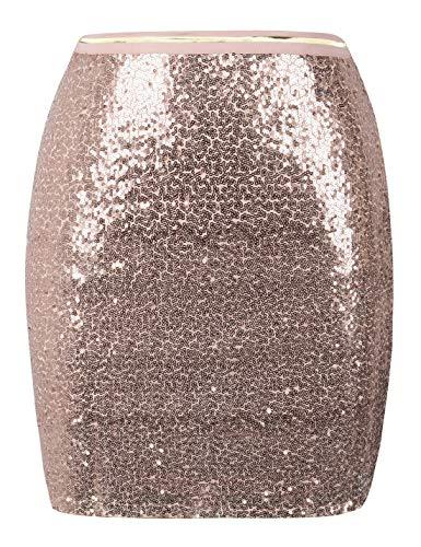 PrettyGuide Damen Pailletten Rock Glänzen Bodycon Mini Rock Clubwear Cocktailkleid L Rosé Gold