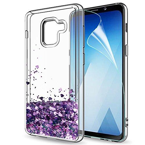 LeYi Compatible with Handyhülle Samsung Galaxy a5 2018 / a8 2018 Glitzer Hülle,Flüssig Treibsand TPU Silikon Bumper Handy Hüllen mit HD-Schutzfolie für Galaxy a8 2018 Case Cover ZX Purple