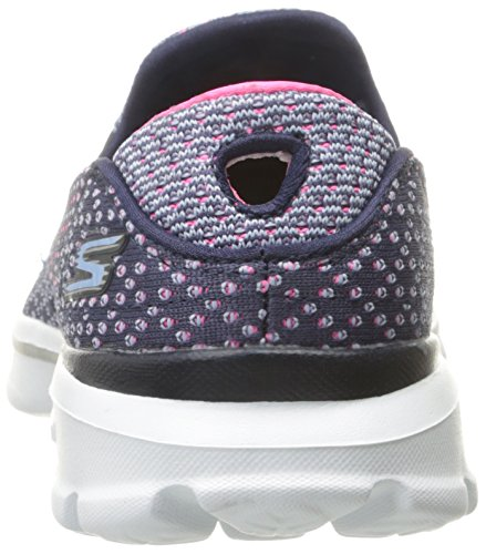 Skechers Go Walk 3 Go Knit, Baskets Basses Femme Bleu (Marine/Rose)