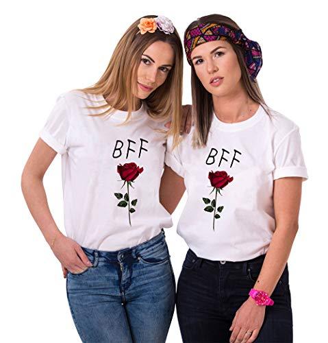 Friends Sister Shirt für Zwei Mädchen Damen Bester Freunde t-Shirts mit Rose BFF Tshirts Partnerlook Tops Bluse Freundschaft Geschenk Oberteile 2 Stücke(Weiß,BFF-S+M) -