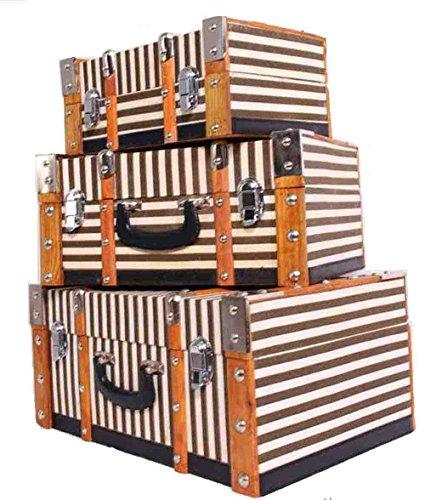 Koffer Set 3 teilig / Holzkoffer / Dekokoffer / Minibar / Kosmetikkoffer / VINTAGE! Set 3 Oldtimerkoffer / Koffer / Streifenmuster / Eckig / Holzlatten /...