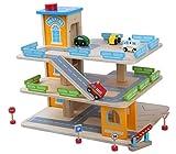 Holz-Spielgarage mit einem Lift Große Parkgarage Parkhaus Auto Garage aus Holz mit Zubehör, Autos Sportwagen Holzgarage