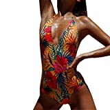 Bikini Donna Intero Fiori Mambain Costumi Donna Interi Mare Sexy Costume da Bagno Donna Imbottito Push Up Vait Alta Brasiliana Collo Appeso Floreale Halter Piscina Spiaggia (M, Rosso)
