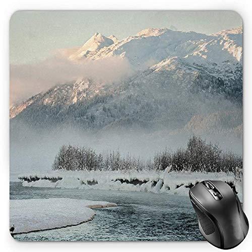 BGLKCS Alaska Mauspads,Chilkat Valley Covered in Snow Winter Season Landscape Idyllic Scene from North,Standard Size Rectangle Non-Slip Rubber Mousepad,Silver White