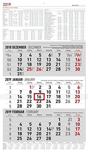 Calendario da muro olandese trittico 2019 formato 31x52,5 cm