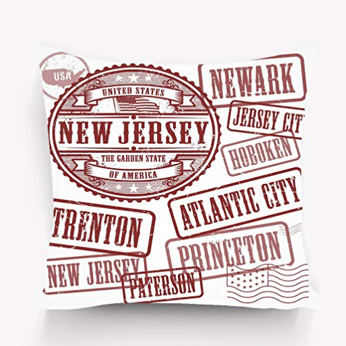 senbezüge Pillow case Stamps Set Names Cities State New Jersey Grunge Rubber United States 18 * 18 inch ()