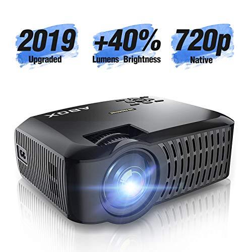 Beamer Native 720p ABOX A2 3000 Lumen Aktualisierte Mini LED Projektor,+40% Helligkeit Full HD 1080P,unterstützt HDMI USB SD VGA AV für Laptop,Smartphone Perfekt für Fußballspiele,Filme-Schwarz -