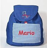 Mochila oso escuela confeccionada en loneta azulón y personalizada con nombre (28 x 30 x 14 cm....