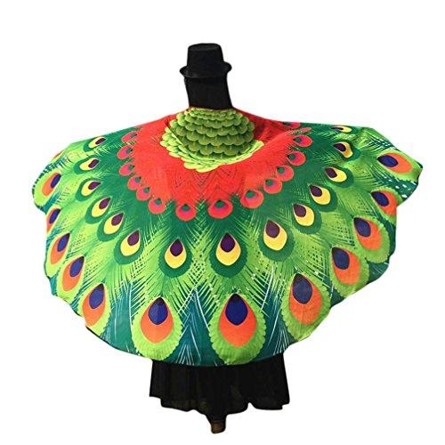 Chiffon Umschlagtücher, ESAILQ Damen Schöner Chiffon Schmetterling / Pfau Flügel schal überwurf Fairy Damen Nymphe Pixie Kostüm Zubehör 197 x 125CM (Kostüm Make Pfau Up)