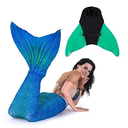 SUN TAILS Set Meerjungfrau Kostüm Blue Lagoon mit Monoflosse zum Schwimmen XL grün