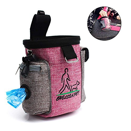 BOENTA Hundetrainingstasche Pet Tragbare Treat Pouch Carry Snack Ausrüstung Taschen mit Poop Tasche Halter für Gehen (Rosa)