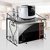 AISHN Stabiles Mikrowellen-Regal aus Metall Storage Racks Teflon Select Processing Decoration Küchenregal aus Metall für Mikrowelle Schwarz