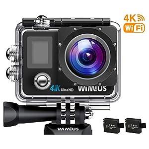 51aaR8bJnVL. SS300 WiMiUS Action Cam 4K WiFi 1080P Full HD Impermeabile Fotografica Subacquea 40M 2 Pollici 170 Gradi Ampia Vista Grandangolare con Custodia Impermeabile, 2 Batterie 1050mAh(Q1