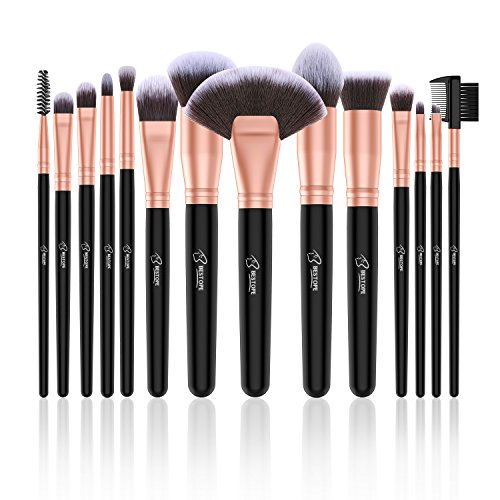 BESTOPE 14 Stück Make Up Pinsel Set Kosmetik Pinsel Premium Synthetische Kabuki Makeup Pinsel Schminkpinsel Set Foundation Concealer Lidschatten Kosmetikpinsel Beauty Tools (Rosa Gold) (Kabuki-pinsel-set Bestope)