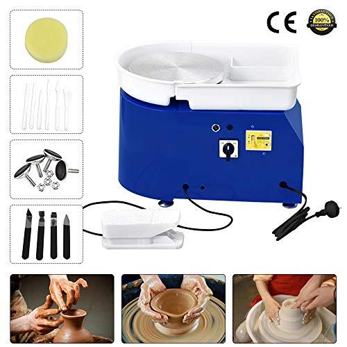 TOPQSC Elektrische Töpferscheibe Maschine 25CM 350W Keramik Clay Maschine Töpferscheibe Formmaschine DIY ton Werkzeug mit Fußpedale und Abnehmbare Waschbecken Keramik Tonformwerkzeug Maschine