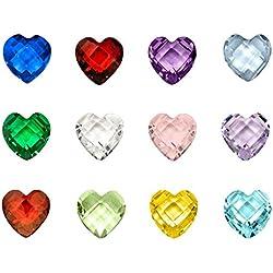 Contever® 1 Packung mit 120 Pc Assorted Mix 12 Farben Birthstone Kristall Charms 5mm für Living Memory Locket Medaillon (Floating Anhänger nicht einschließlich) - Herz Shaped