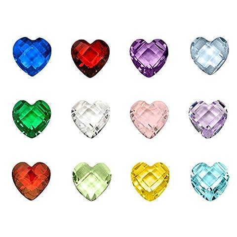 Contever® 1 pack de 120 pcs Assorties Mix 12 Couleurs Birthstone Artificielle Cristal 5mm pour Flottant Charm Médaillons (Floating Pendentif non compris) - en Forme de Coeur