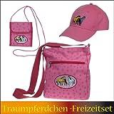 Unbekannt Traumpferdchen-Freizeitset, 3-tlg. mit rosa Pferdemotiv, Blumen und Sterne, 3 Pferde, bestehend aus Traumpferdchen-Tasche in rosa, Baseball-Cap (Capy) rosa und Brustbeutel in rosa