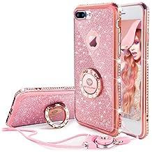 Funda iPhone 7 Plus Oro Rosa y Diamantes,Banca Correa Para el Cuello Movil Bling Glitter Resplandecer Diamante de Imitación Transparente Caso el iPhone 7 Plus